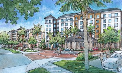 Rendering for marketing purposes of the proposed Homewood Suites at Flamingo Crossings, one of four new hotels planned by the developer along Flagler Avenue.