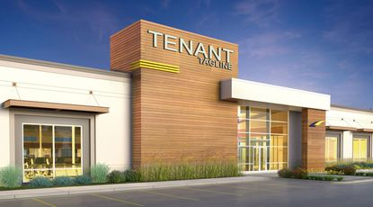 A conceptual rendering of a retail building within the proposed Shoppes at Trelago project in Maitland