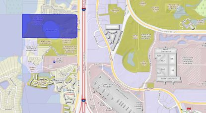 Highlighted in blue is the 65-acre parcel on Turkey Lake Road, north of Westgate Lakes Resort and directly west of Interstate 4, and International Drive's Pointe Orlando and the Orange County Convention Center.