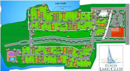 A marketing site plan for the proposed 86-lot waterfront residential community in downtown Eustis that would lie on redeveloped land of the Sharp's Mobile Park.