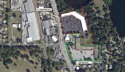 Outlined in green is the Fort Gatlin Shopping Center in Edgewood that was acquired this week, at the corner of Gatlin and S. Orange avenues. Directly north is another retail center (red) acquired by the same buyer in October.