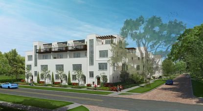 A rendering of the planned Irving on Park townhomes near Park Lake in Orlando.