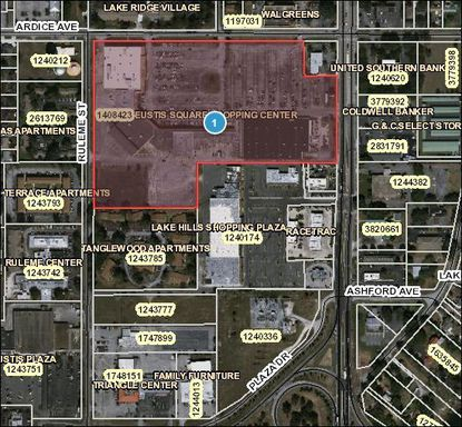 This Eustis Shopping center outlined in red was recently sold to an Austin, Texas-based investor.