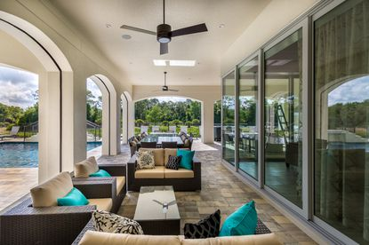 This 12-bedroom vacation rental home in Reunion Resort has ample indoor and outdoor living space.