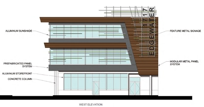The existing 1,350-square-foot office building would be replaced with this 3-story mixed-use building.