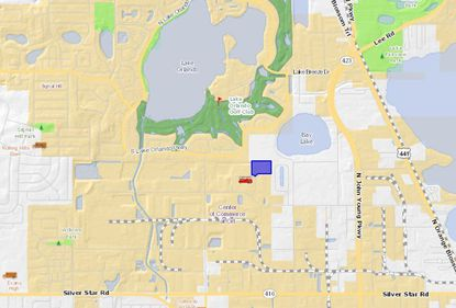 Highlighted in blue, the warehouse property acquired by Eisenberg Group lies just south of Lake Orlando and the Lake Orlando Golf Club.