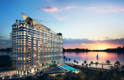 An updated rendering of the planned ph Premiere Resort-Residences Orlando, planned by Azzurra Development for 14 acres on Lake Bryan.