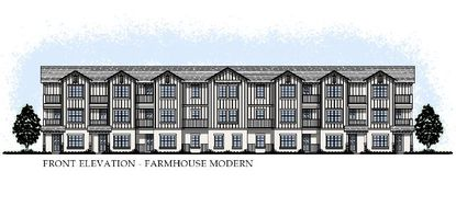 Conceptual elevations for residential buildings within the Homeplace at Hamlin Lakes DP feature what appears to be 3-story attached townhomes for rent.