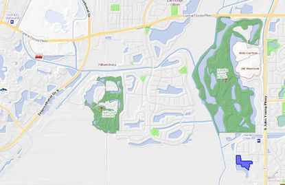 Highlighted in blue are the 7.66 acres at 12228 Triton Lane, a third phase of the Fountains at Crystal Creek condominiums that lie west of S. John Young Parkway and north of the Central Florida Greeneway.