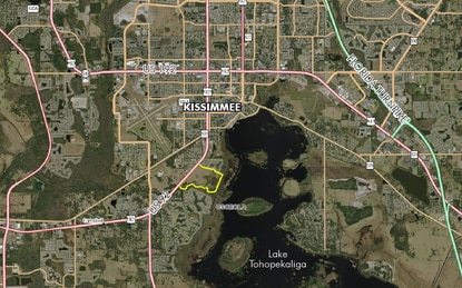 The State of Florida paid $1 million for a trail corridor along Shingle Creek and Lake Tohopekaliga as part of a regional trail network (shaded white). The rest of the 194-acre parent parcel (yellow) is on the market for $7.5 million.