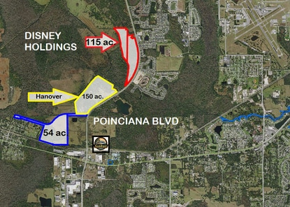 The Brown family, which owns hundreds of acres along Poinciana Boulevard is seeking rezoning for the north parcel (red) and south parcel (blue.) The 150-acre parcel outlined in yellow is under contract to a builder with plans for a new 500-home subdivision.