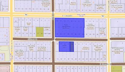 Highlighted in blue, the Publix grocery store parcel at the corner of E. Colonial Drive and Shine Avenue was acquired last week, along with two small parcels used for parking directly south.