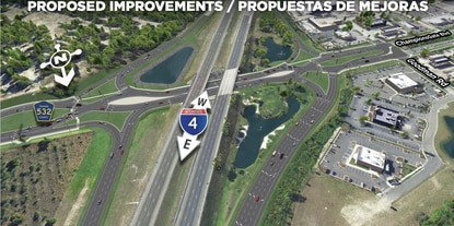 Construction is scheduled for Spring 2021 on reconstructing the C.R. 532 interchange at ChampionsGate into a diverging diamond interchange.