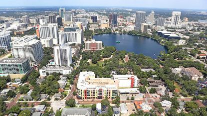 An aerial view of Orlando's downtown.