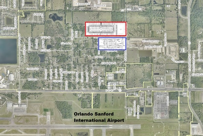 Ryan Homes filed plans for a new subdivision in Sanford outlined in blue. The adjacent community outlined in red broke ground in 2019.