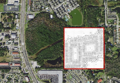 Pulte Homes has filed construction plans for 286 townhomes on the 40-acre parcel outlined in red. It's just east of Kissimmee's W192 tourism corridor.