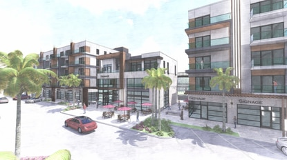 The Main Street section of Visions will feature mixed-use buildings with loft condos over retail. The developer plans to incorporate leasable storage units into the interior of the midrise buildings.