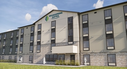 A rendering of the planned 122-room WoodSpring Suites at Sand Lake Vista hotel.