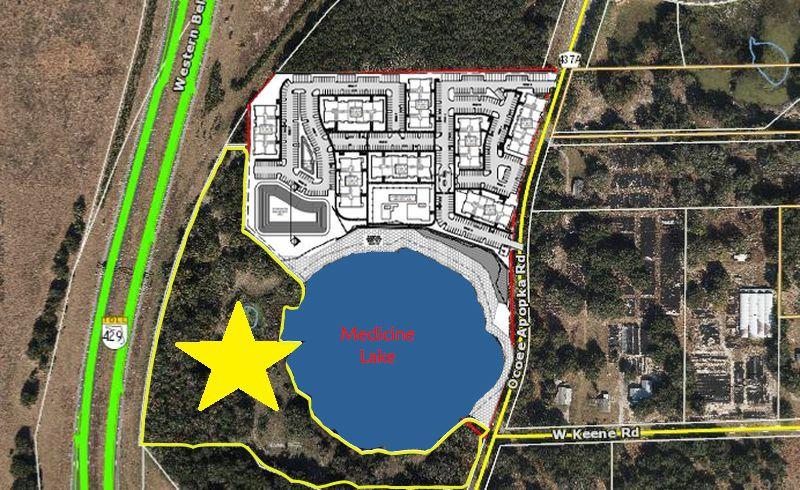To the north of Medicine Lake, a company linked to managers at First Team Commercial is planning to build a 304-unit apartment community. To the south (starred), property owners are prepping the land to accommodate up to 352 multifamily units.