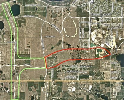 Outlined in red is the area for an approximate 3.5-mile extension of C.R. 455 from Hartwood Marsh Road to Wellness Way.