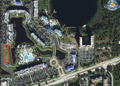 Above is the 40-plus acres of property making up The Fountains resort by Bluegreen Vacations on S. International Drive, southwest of Lake Eve. The red box in the lower left is where Building 9 would be built.
