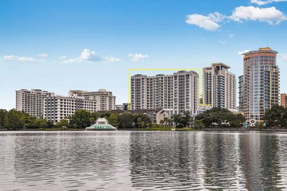 The 16-story tower is located south of Lake Eola and features a fourth-floor swimming pool and ground-floor retail, including a 38,858-square-foot Publix supermarket.