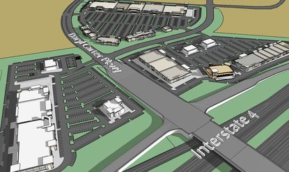 The latest 3D rendering of the planned Vineland Pointe retail powercenter, looking southeast from I-4 toward Daryl Carter Parkway and International Drive. The image includes ramps for a long-anticipated I-4 interchange.