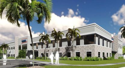 A new rendering of the proposed D.R. Horton south regional headquarters building planned for a site near Lake Nona.