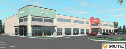 A rendering of the planned multi-tenant industrial building on Exchange Drive, in the Orlando Central Park industrial park.