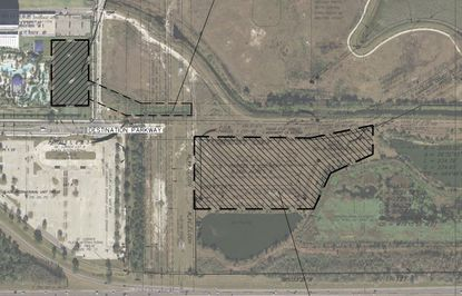 An updated DP filed in November with the county shows the existing retention pond at the Hilton Orlando to be filled (left), an existing ditch running eastward from that pond, and the proposed six-acre off-site pond (center).