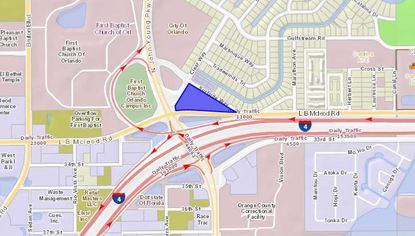 Highlighted in blue, the recently acquired Ramada Orlando Downtown lies near the intersection of N. John Young Parkway and Interstate 4.