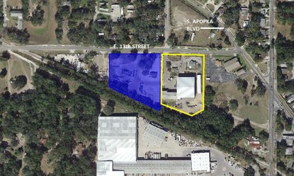The site at 644 E. 13th St. in Apopka (blue) is planned for a new industrial building that will double the footprint of a local construction firm's established office and warehouse (yellow).