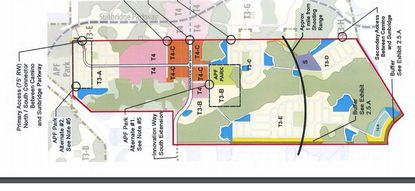 In this updated Regulating Plan from December 2017, which is inverted with north to the left of your screen, the Camino Reale project would have five road access points to the Sunbridge property on its eastern side.