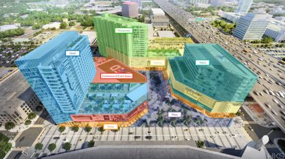 A color-coded conceptual plan of the Orlando Magic Sports & Entertainment District that features the hotel (blue), office tower (teal), public plaza (purple) and apartment building (green).