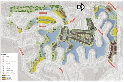 The proposed master plan calls for construction of 114 new homes and townhomes and 673 multifamily units on the existing golf course.