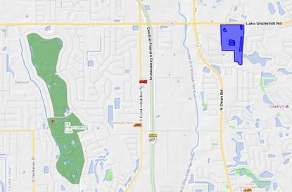 Highlighted in blue, the 38 gross acres are located in East Orange County, east of the intersection of Lake Underhill Road and S. Dean Road.