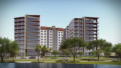 A rendering of the 10-story, 288-unit Broadstone Lake House development proposed in Ivanhoe Village. This view looking north from Lake Ivanhoe.