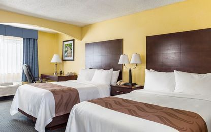 The Quality Inn & Suites by the Parks in Kissimmee was recently renovated. This is a prototypical double room.