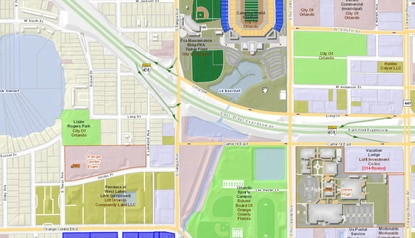 The City of Orlando will entertain offers for the 4.8-acre site (highlighted in blue) along Orange Center Boulevard, south of Camping World Stadium. The city is looking for mixed-income housing.