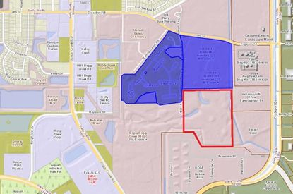 Outlined in red are 42.3 acres recently bought by Exeter Property Group in Air Commerce Park, near Tradeport Drive and west of Orlando International Airport. Highlighted in blue are nearly 90 acres owned by Becknell Industrial.