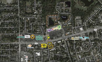 Outlined in yellow is the former Regions Bank branch on Aloma Avenue in eastern Winter Park.