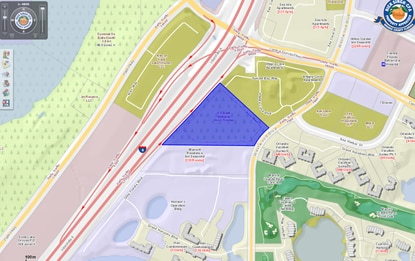 Highlighted in blue, the 12.26-acre parcel acquired by Carlyle Group and Flournoy Partners lies just southwest of the intersection of Central Florida Parkway and Westwood Boulevard, less than a mile southwest of SeaWorld.