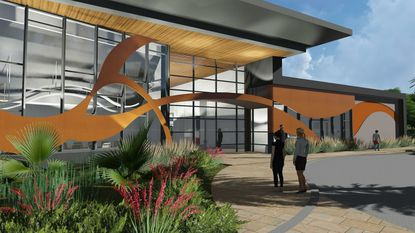 Rendering close up of the entryway to the proposed new IAAPA headquarters building in Orlando.