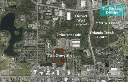 An aerial showing the proposed Fern Grove site in relation to a number of projects either underway or proposed, including The Packing District's new YMCA center, the Orlando Tennis Centre, auto dealer Don Mealey's proposed District West development and Foundry Commercial's Princeton Oaks industrial park.