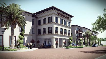 A rendering of the front entrance to the proposed 120-room boutique hotel, this view from N. Pennsylvania Avenue.