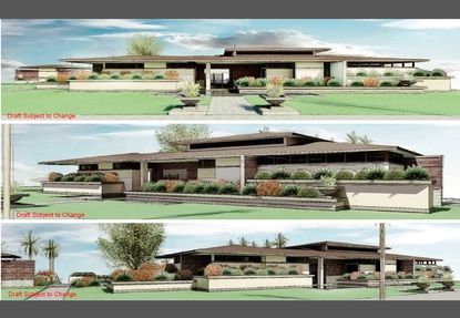 An architectural rendering of the community clubhouse for Hawksmoor displays the horizontal lines, simple detailing and geometric window placement typical of the Prairie Style movement.
