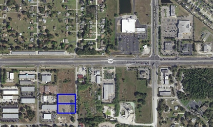 The Osceola Industrial Park is southwest of the U.S. 192 - Narcoossee Road intersection in St. Cloud. A developer has filed plans to build 28,000 square feet of flex industrial warehouse space on the two parcels outlined in blue.