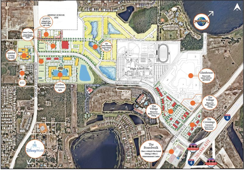A site plan for the O-Town West mixed-use development in Orange County. The project is one of several cases on hold to seek P&Z approvals.