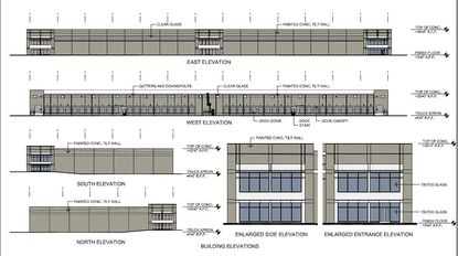 Initial renderings submitted of a warehouse and storage facility planned for Municipal Drive, two blocks from N. International Drive.