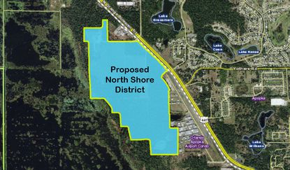 Highlighted in blue are the 349 acres being prepped for mixed-use development along N. Orange Blossom Trail.